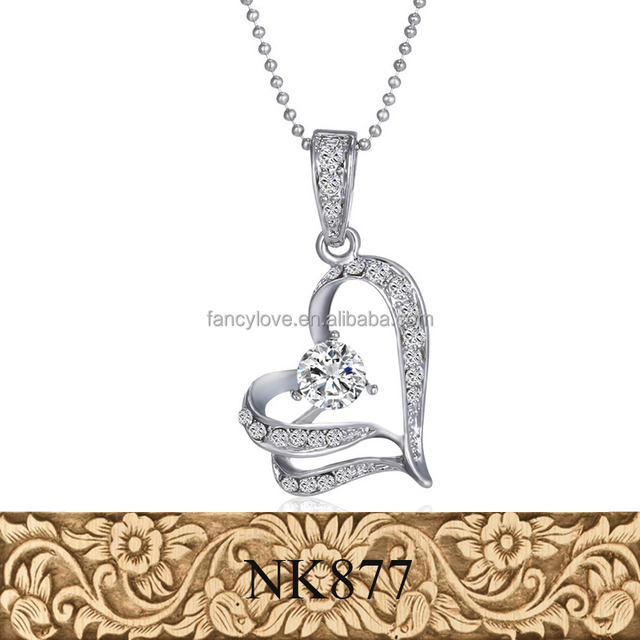 Korea sliver alloy heart pendant necklace newest diamond heart necklace