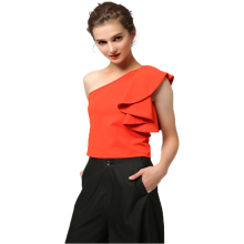Red single shoulders tank top Black wide-leg pants women's suit for wedding