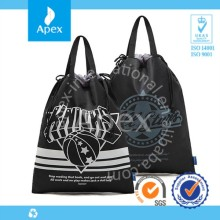 Custom printed nylon handle drawstring shopping bag