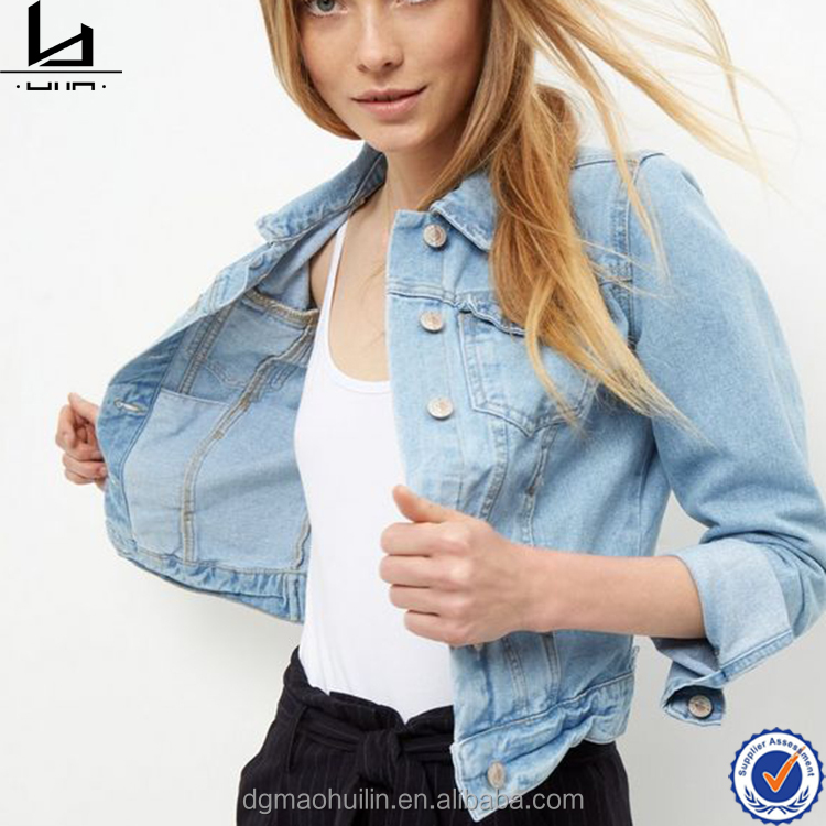 collared neck front double pockets custom fashion light blue denim lady jacket