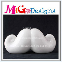 Promotional Gift White Glazed Mustache Coin Bank Box