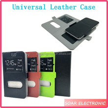 Universal Flip Leather Case For Smartphone 4.0 5.0 5.5 Inch, Wallet Cell Phone Case With Window View
