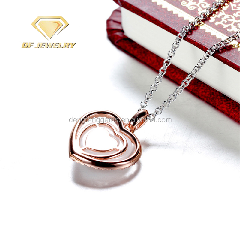 Jewelry,Love Shape Gemstone Silver Pendant Necklace