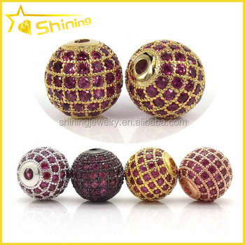gold plated wholesale micro pave ruby cz european bead
