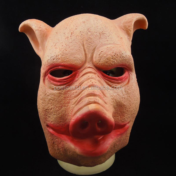 Halloween fancy dress scary latex pig head mask