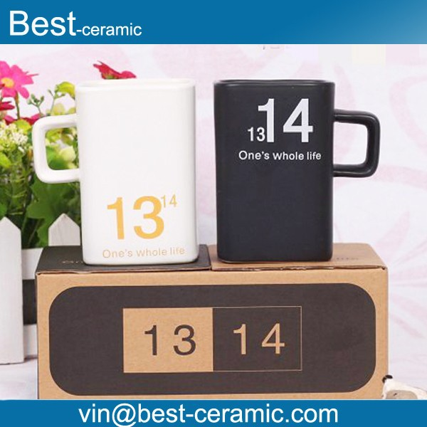 high quality white and black square ceramic coffee mug