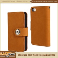 Custom Logo Wallet Leather Case Mobile Filp Cover For Iphone4