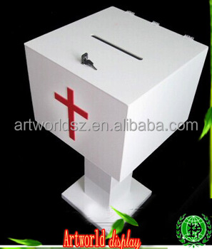 big size donation box floor stand acrylic donation box
