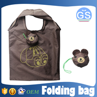 OEM factory direct suppy bear foldable shopping bag 190T polyester cheap