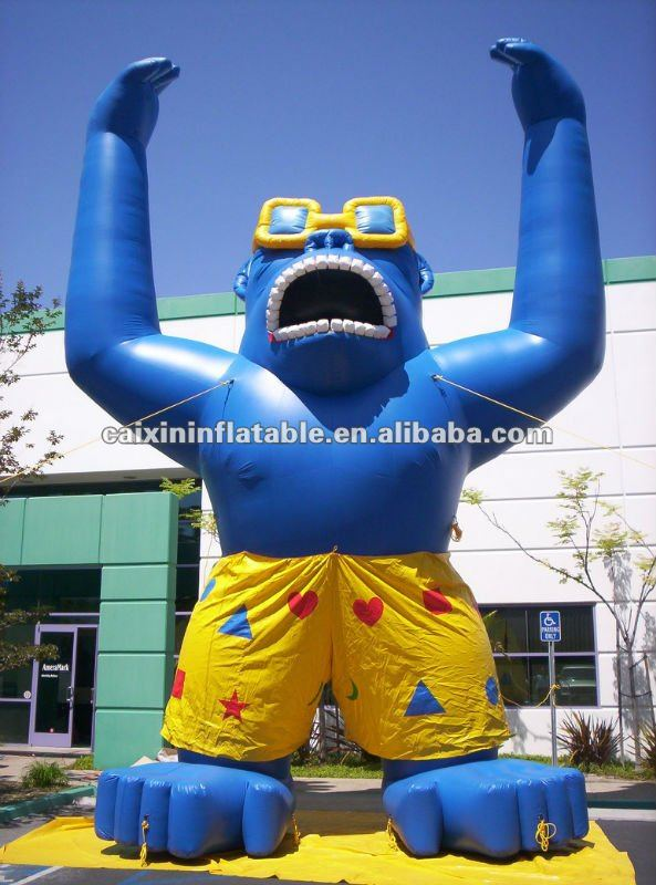inflatable animal mascot Inflatable blue gorilla advertising slogan