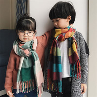 Classic Autumn Winter Knitted Grid Pattern Cashmere Woolen Kids Scarf For Kids