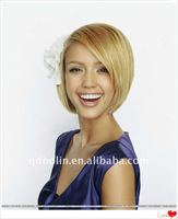FASHION BLONDE DENSITY 120% HUMAN HAIR FULL LACE WIG SHORT