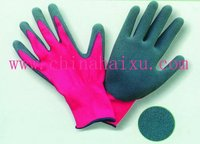 13gauge red Nylon knit liner palm natural latex coats work gloves