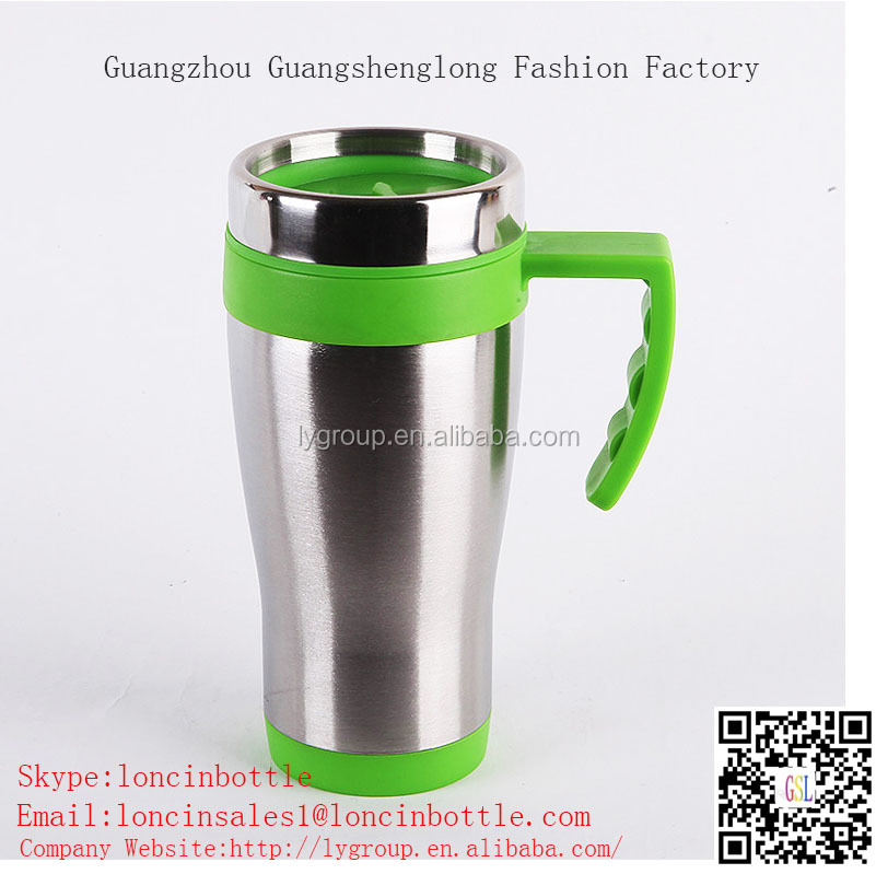 16oz double wall stainless steel thermo coffee cup,stainless Steel Thermal Travel Car Mug with handle