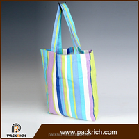 Made in china alibaba shoulder bag stripe canvas beach tote bag wholesale