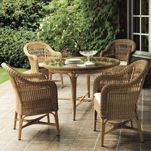 antique special design outdoor garden rattan furniture with hollow out back chair glass top round dining table set