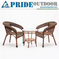 Outdoor Leisure Balcony Metal Coffee Table Rattan Dining Chair Rattan Cane Furniture
