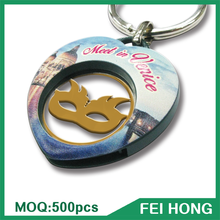 Fashion Cheapest Digital Printing Heart Shape keychain Euro Coin Trolley Cart Metal Keyring