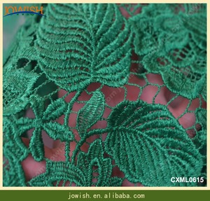 African water soluble 3d guipure chemical french green lace fabric