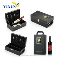 2016 new design pine wood wine boxes/leather Wine Carrier