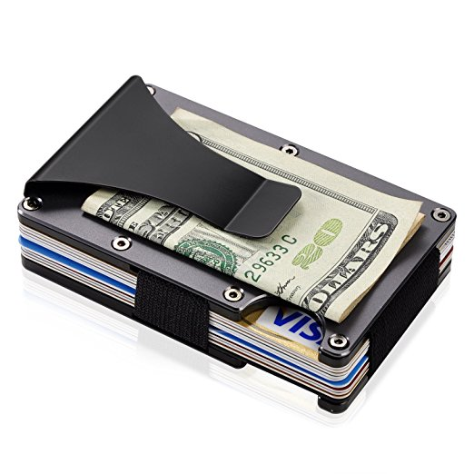 Aluminium Alloy/Stainless Steel Money Clip Wallet Blocking Metal Wallet Credit Card Holder With RFID Anti-chief Wallet Men