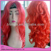 dark pink color front lace wig synthetic hair highlight