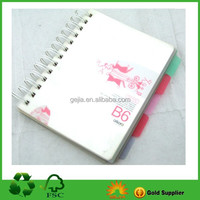 PP cover spiral divider book with divider panels