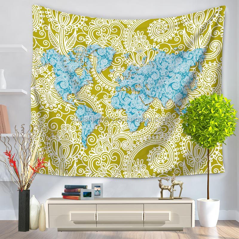wholesale world map mandala tapestry wall hanging for sale