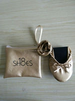 Customized Foldable Roll Up Ballerina Shoes In Bag For Wedding Gift
