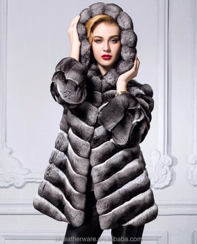 Womens Hooded Black White Chinchila Fur Coat