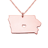 SJUSASN047 SJ High Quality Handmade Stainless Steel Gold Plated Rose Gold USA Iowa State Outline Map Dangle Necklace Three Color