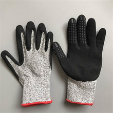 OPTIMA 13 gauge safety dotted nitrile sandy cut resistant glove level 5