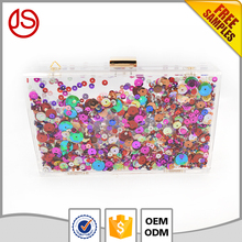 New Product Lady Long Evening Handbag Box Clear Acrylic Clutch Box Bags