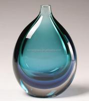 Blue/Green Art Glass Vase in 26.5cm height handmade glass