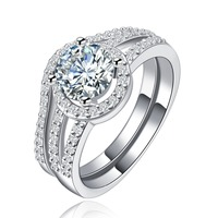 Good quality Fashion Jewelry R128 Rhinestones Plated Gold Engagement Ring
