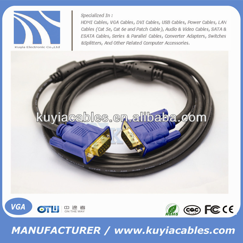 Gold plated/nickelPlated HD15pin 3+6 VGA to VGA Cable for Projector,LCD 1.5m,1.8m,2m,3m,5m,10m,20m,30m,40m,50m,60m...