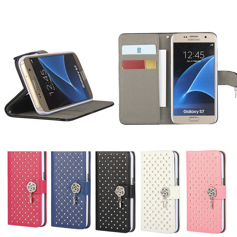 2016 new arrivals diamond PU leather flip cover card case for samsung S7 , for samsung S7 accessories