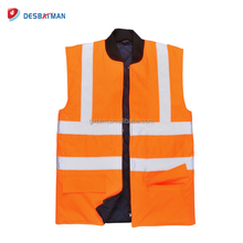 2017 Orange ANSI Class 2 Padded Reversible Bodywarmer Safety Work Vests with Zipper Closure and Pockets