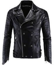 Men's Fashion Skull Studded Asymmetrical Zip Quilted Pu Leather Jacket