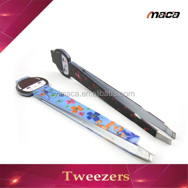 Customized China doll coating cute curved tweezers
