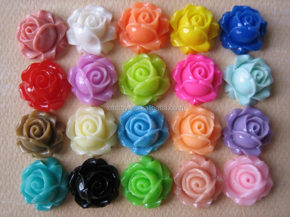 XMT6154 DIY Decoden Craft 28mm Colorful Resin Rose Flower Cabochon