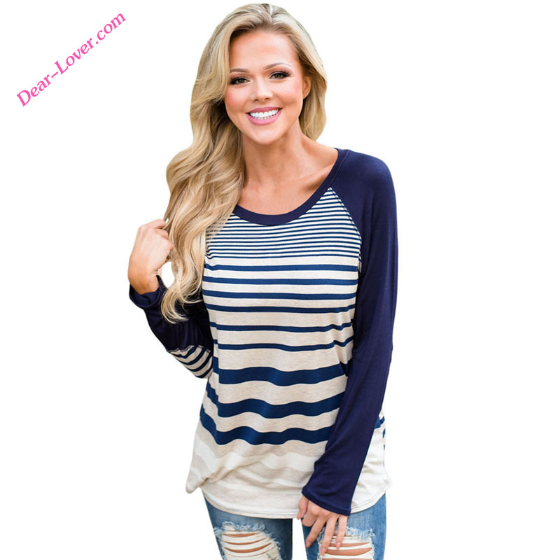 <strong>Navy</strong> Striped Patch Elbow Raglan Autumn <strong>O</strong>-Neck Lady Blouse & Top