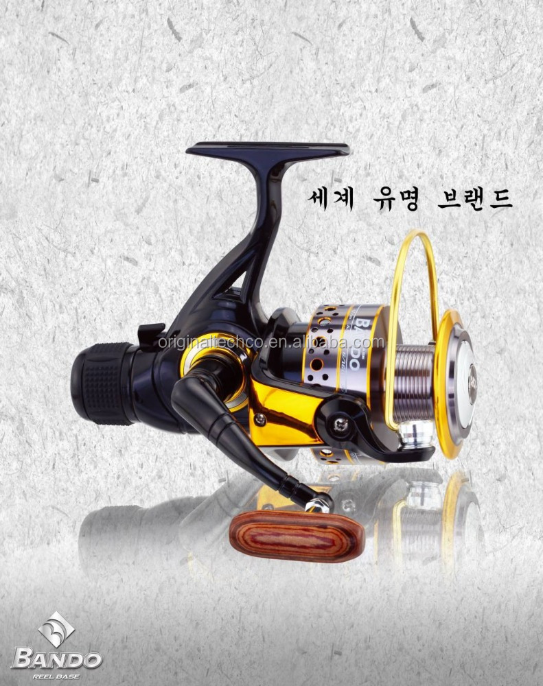 ONE TOUCH HANDLE FISHING REEL WITH BANDOO BRAND AND TRANSMISSION GEAR SYSTEM
