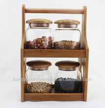 Glass Canister Set with Bamboo Rack