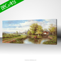 Modern landscape hanging picture village life scenery oil painting canvas print