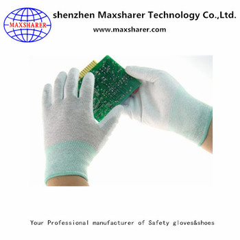 esd gloves finger coated gloves white nylon cleanroom gloves suppliers 2000 pairs daily use