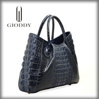 Stock available Wholesale genuine crocodile skin leather horse hair bag