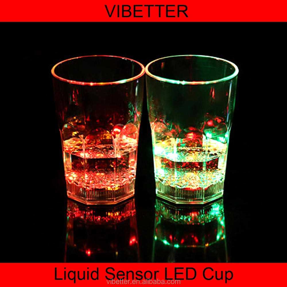 CUP-016 300-400ML glow pattern water liquid activated led flash glass cup