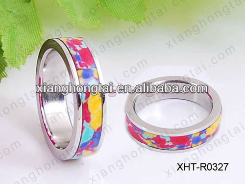 316L stainless steel fashion couple rings rainbow colorful color