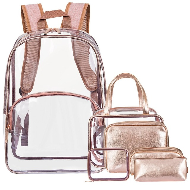 6 in 1 Clear Backpack with Cosmetic Bag & Case, Clear Transparent PVC School Backpack Outdoor Bookbag